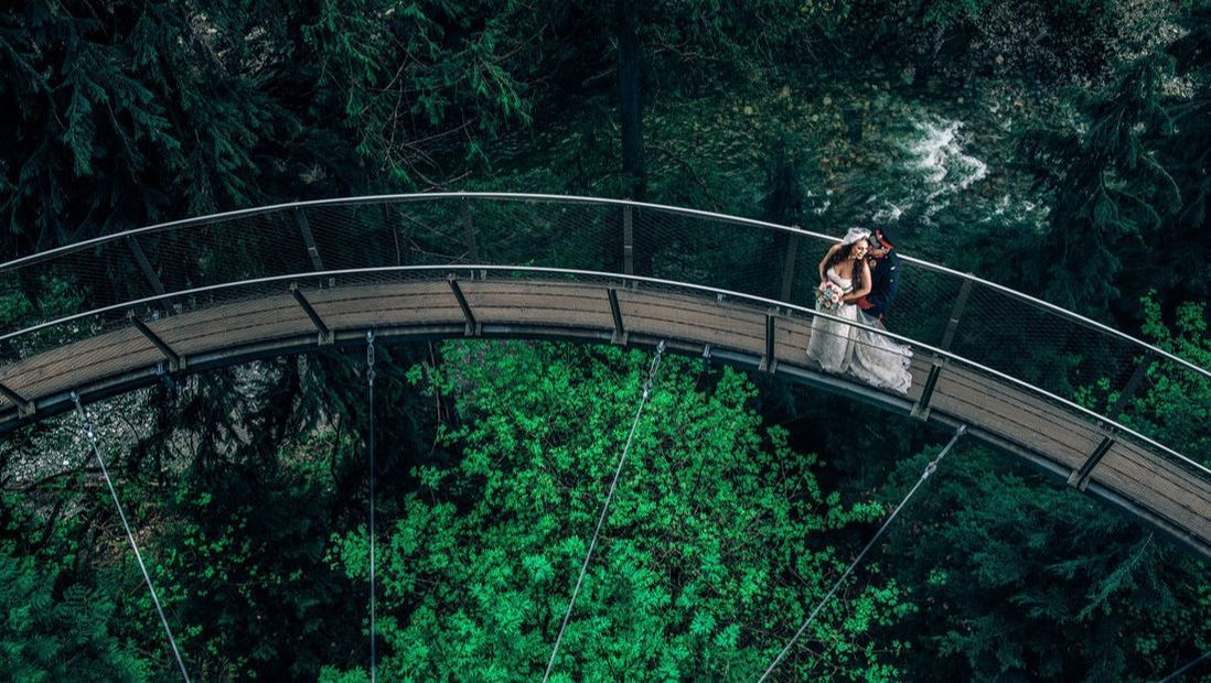 Bride and groom portrait at Capilano Suspension Bridge